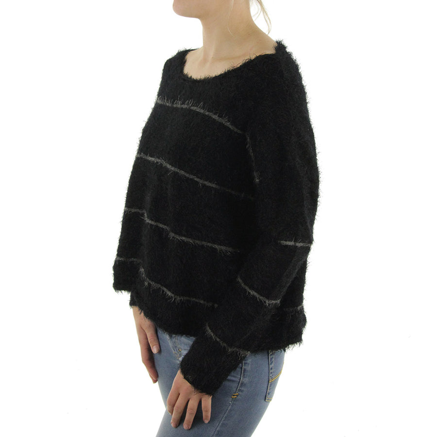 Someday Knit Women's Sweatshirt/Crew/Black