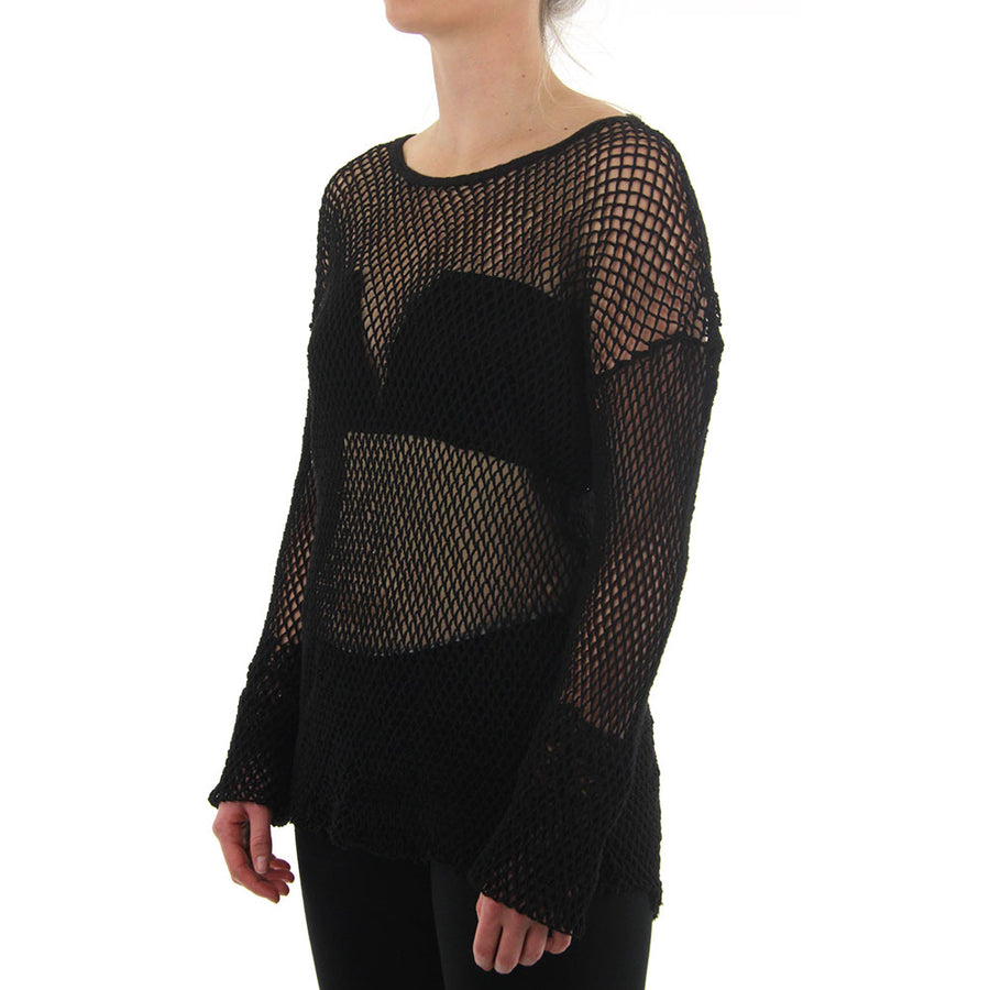 Net Torn Hem Women's Top