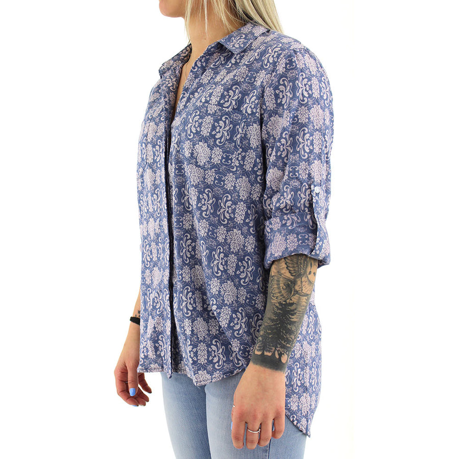 Floral Button Up Sleeveless Women's Top/Blue/White
