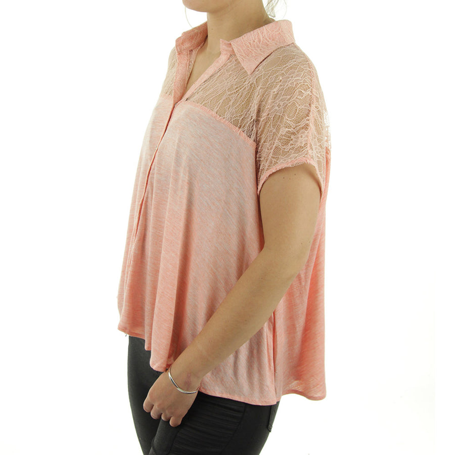 Lace Shoulder Button up Swing Women's Top/Coral