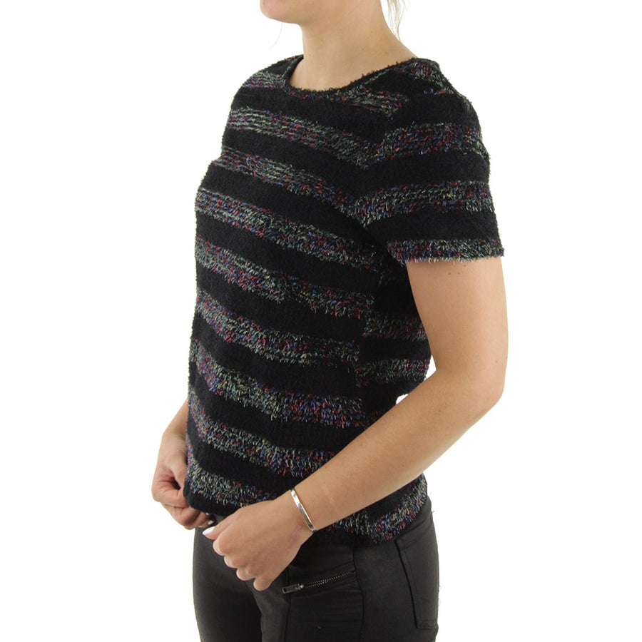 Sparkle Striped Women's Top/Black/Sparkly Tinsels