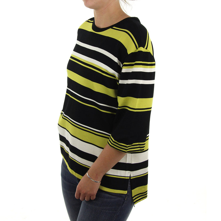 Juli Striped Women's Sweatshirt/Crew/Black