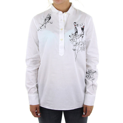 Harlow Embroidered Women's Collared Shirt/Winter White