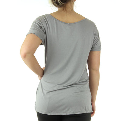 Stretch Scoop Neck Women's Top/Grey