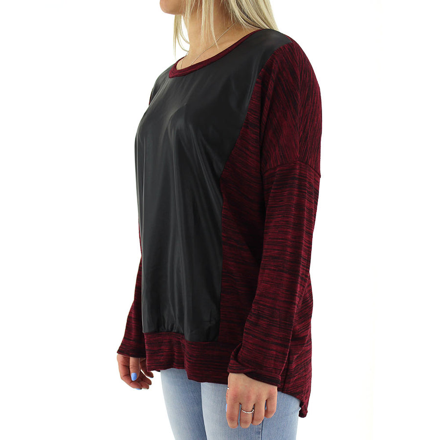 Faux Leather Panel Women's Top/Burgundy/Black