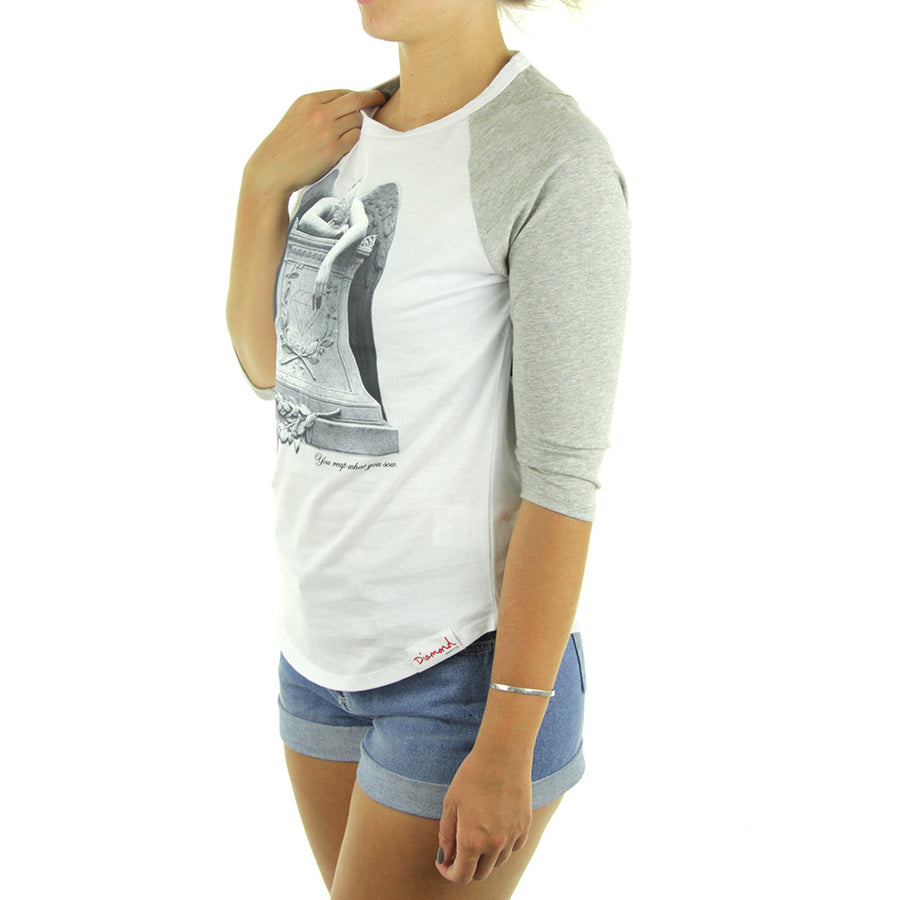 Angel Weeping Women's Raglan Tee/White/Heather Grey