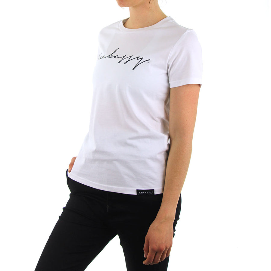 Maple Tee - Script - White