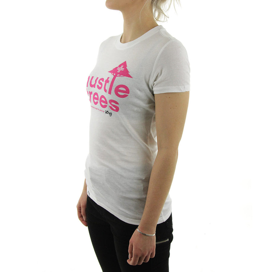 Hustle Trees Women's Tee/White/pink