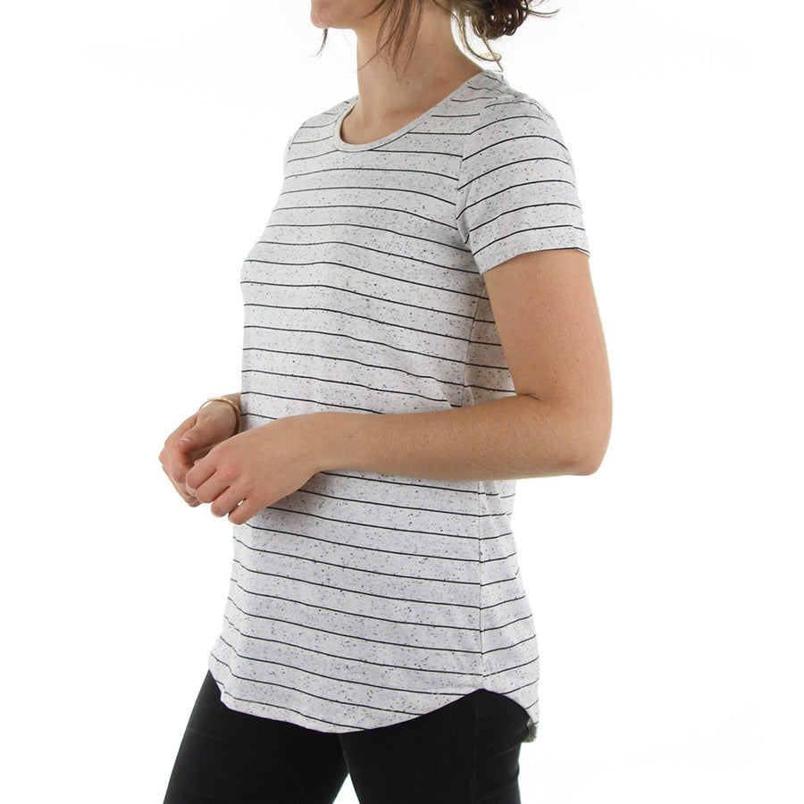 Frequency Women's Tee/Black Fleck Stripe
