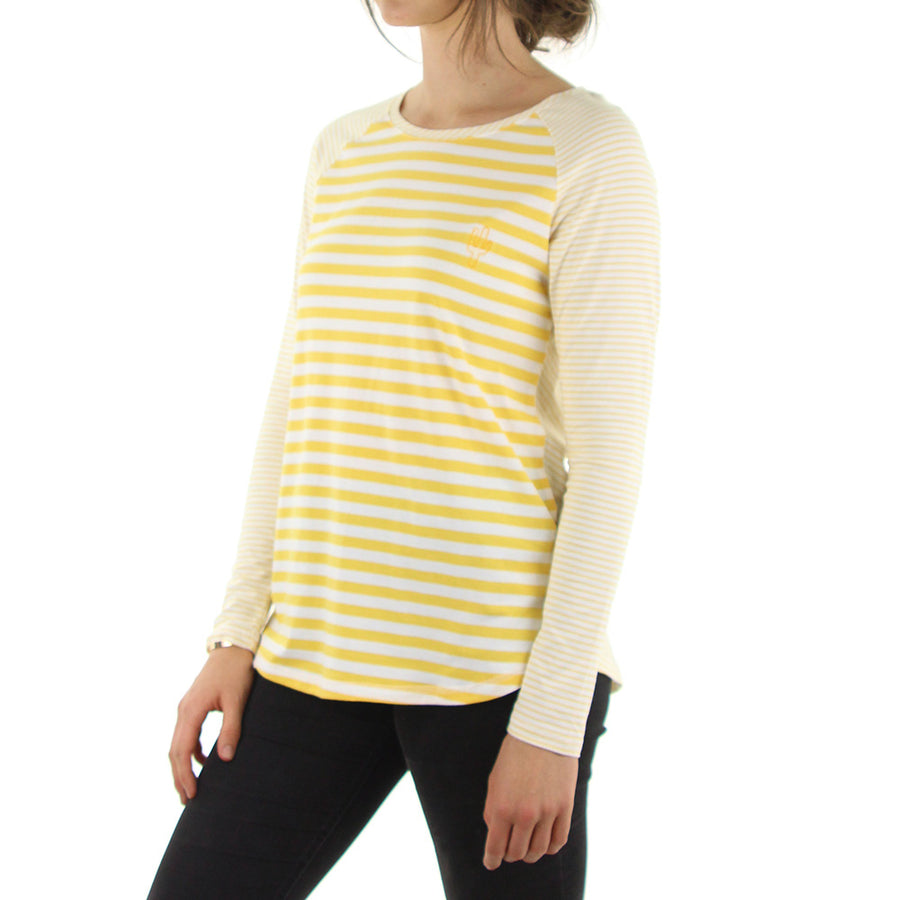 Before Sunset LS Women's Tee/Yellow White Stripe