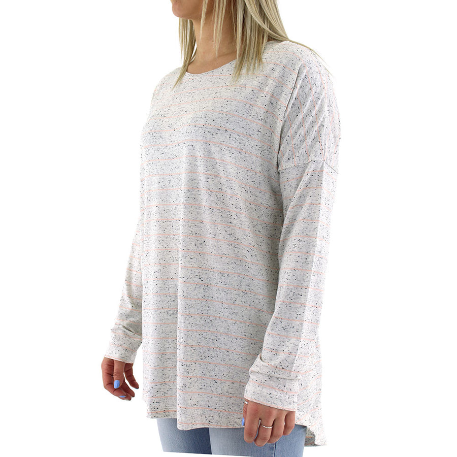 Frequency LS Women's Tee/Pink Fleck Stripe