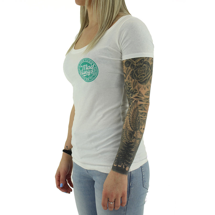 Flairin Scoup Women's Tee/White
