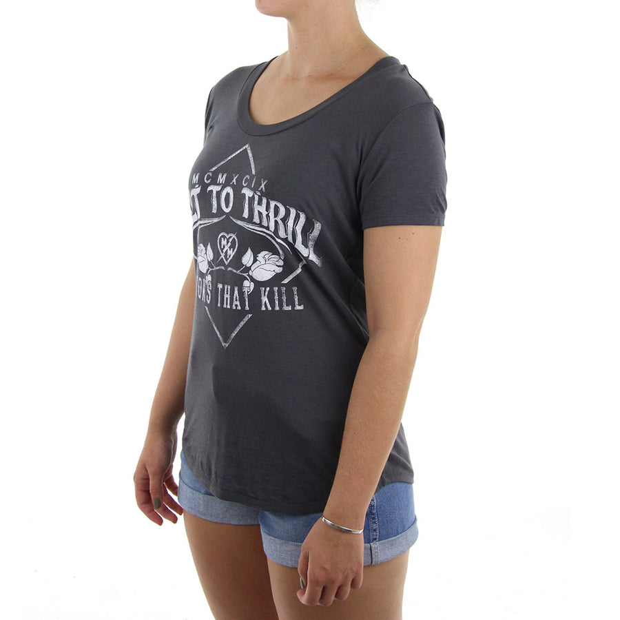 Looks That Kill Burnout Women's Tee/Charcoal