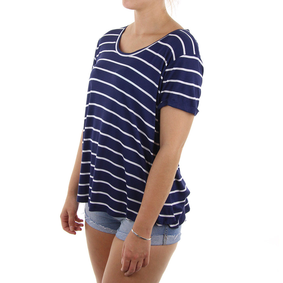 Lived In Rib Women's Tee/Navy/White