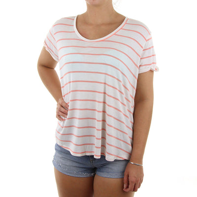 Lived In Rib Women's Tee/White/Pink
