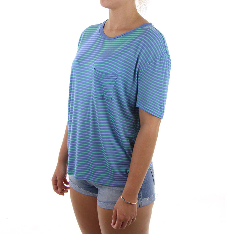Lived In Stripe Women's Tee/Blue/Green