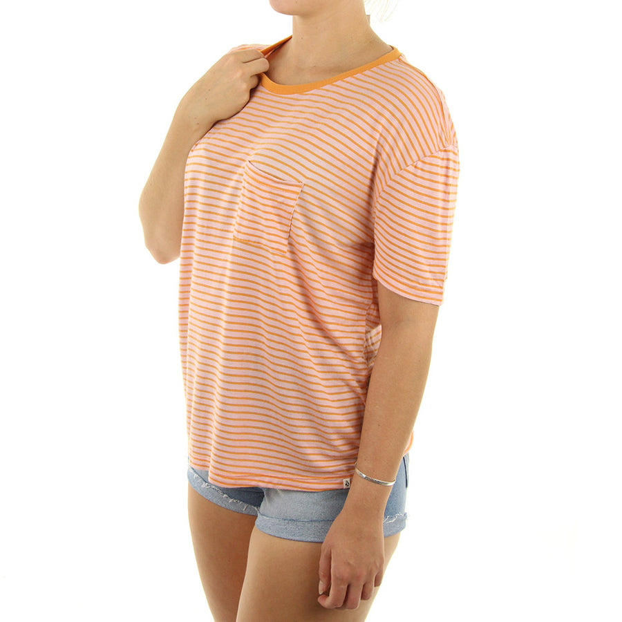 Lived In Stripe Women's Tee/Pink/Orange