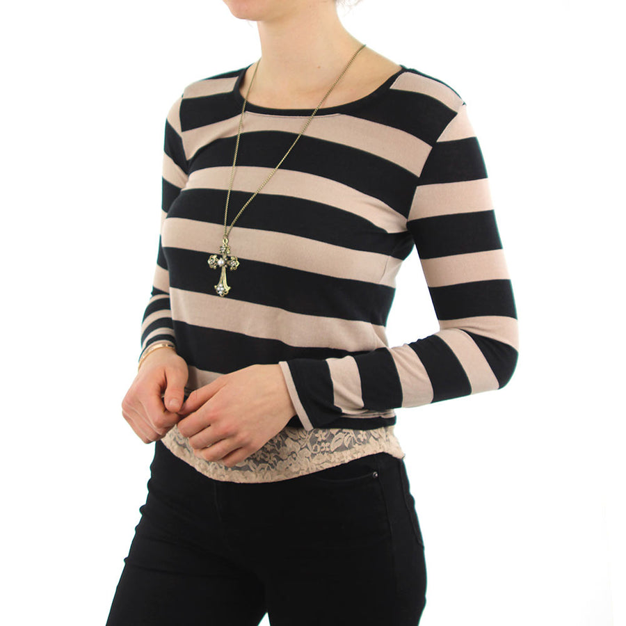 Striped With Lace Trim And Cross Necklace