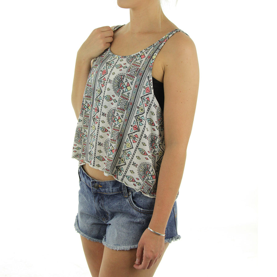 Cropped Aztec Women's Tank/Off Grey/Aztec Print