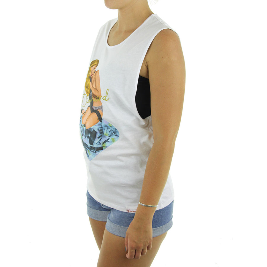 Glare Muscle Women's Tank/White