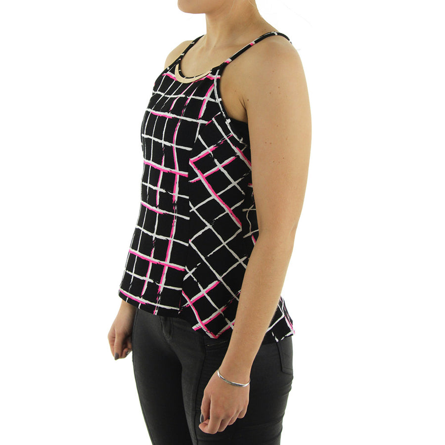 Lined Peplum Women's Tank/Black/White/Neon Pink