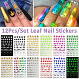 Weed Lovers Shop MISC 3D 12Pcs/Set Self Adhesive Weed Nail Art Decal Stickers