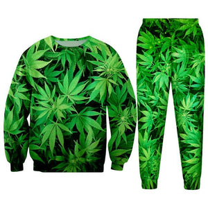Weed Lovers Shop Clothes 3D Green Tracksuits / S 3d Weed Lead Track Suit