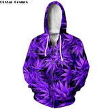 Weed Lovers Shop Clothes zip hoodies / S Leaf Print Sweatshirt