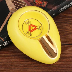 Weed Lovers Shop Ashtrays GA-104 Light  Yellow / CHINA Luxury Ashtray with Blunt Holder