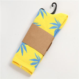 Weed Lovers Shop Socks Yellow Black Weed Leaf Socks Multi Colors