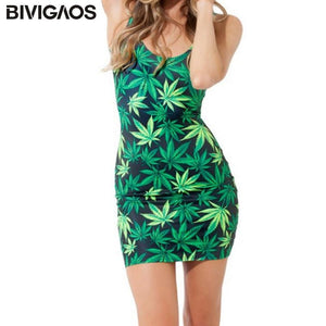 Weed Lovers Shop Clothes Women Casual Summer Style Weed Leaf Beach Dress