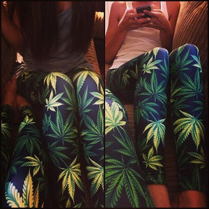 Weed Lovers Shop Socks Womens Weed Leaf Slim Leggings
