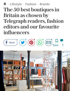 50 Best Boutiques in Britain by Stella Telegraph - We're In It!