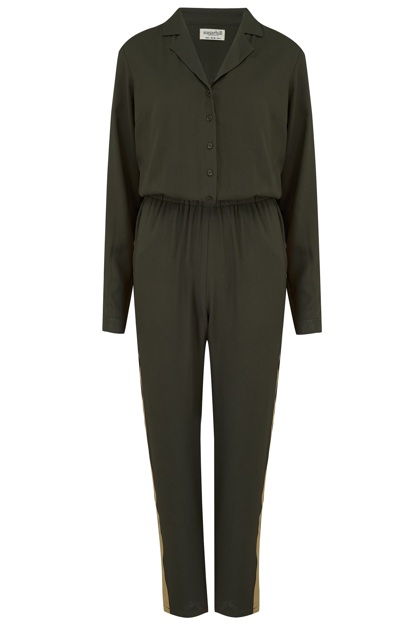 Iona Gold Tipped Jumpsuit - Khaki Green