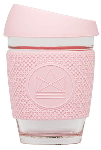 Neon Kactus Reusable Glass Coffee Cup - Pink Flamingo