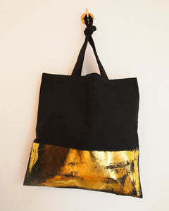 Black Tote Bag with Gold Band