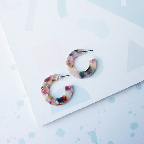 Circe Mini Hoops Earrings - Floral Tortoiseshell