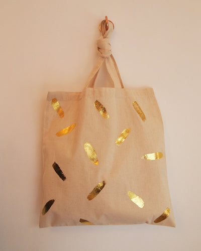 Natural Tote Bag with Gold Brush Strokes