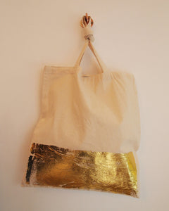 Natural Tote Bag with Gold Band