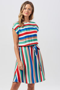 Connie Cabana Stripe Elasticated Dress