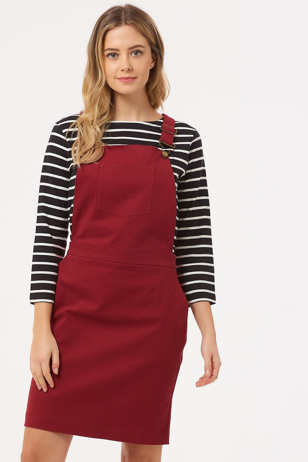 Toni Apron Dungaree Dress - Burgundy