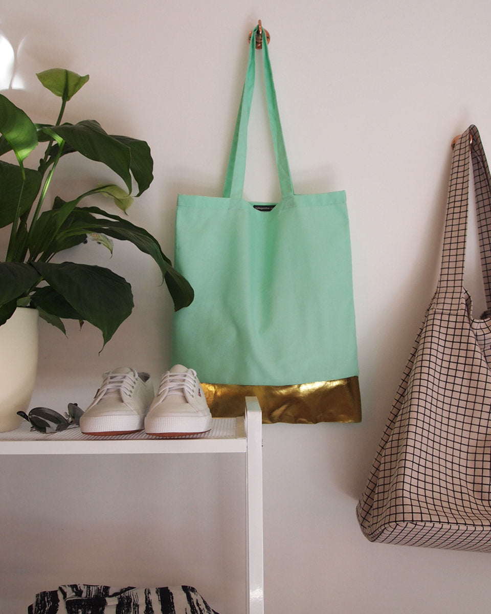 Mint Green Tote Bag with Gold Band