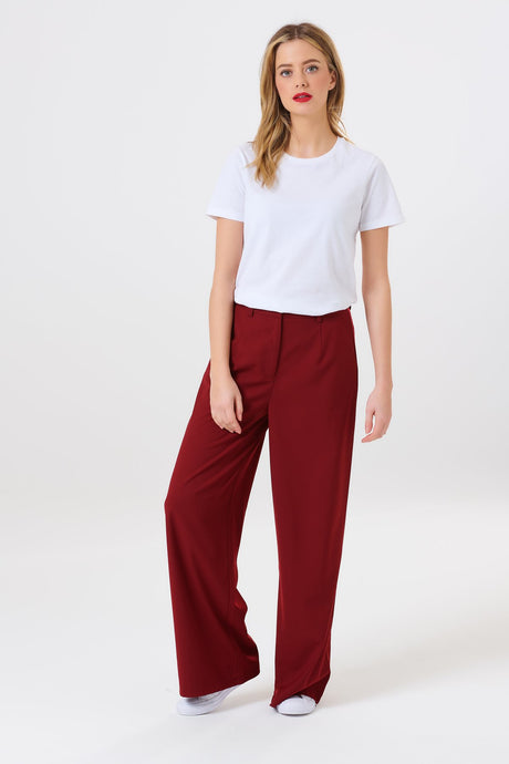 Nate Wide Leg Trouser - Burgundy