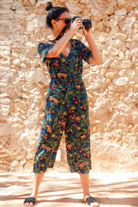 Neme Jungle Cropped Wrap Jumpsuit