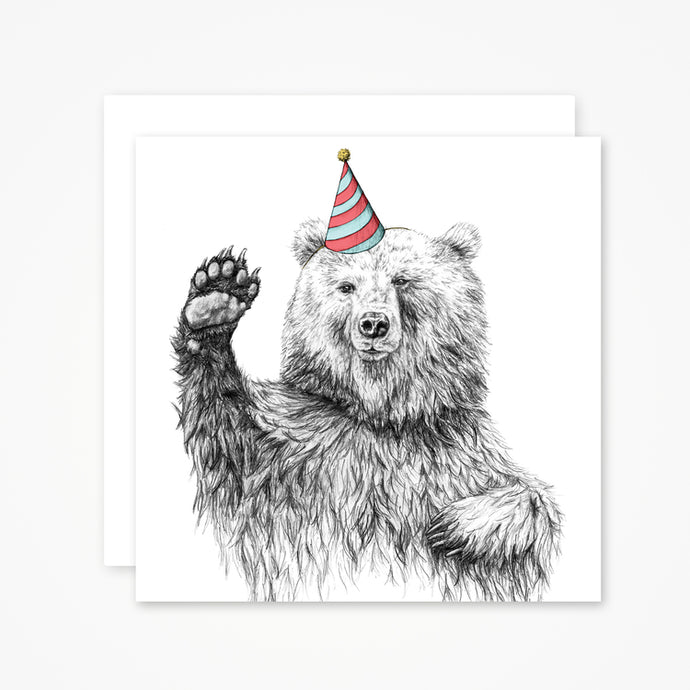 Waving Bear Greetings Card
