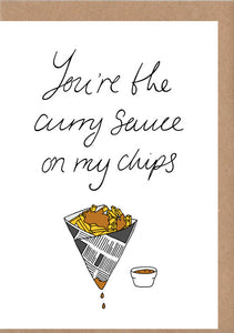 Chips and Curry Sauce Greetings Card