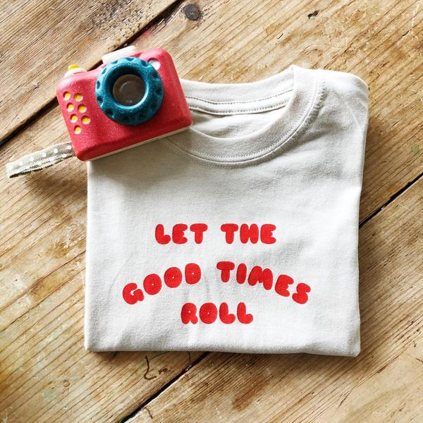 Let The Good Times Roll Tee- Natural/Red