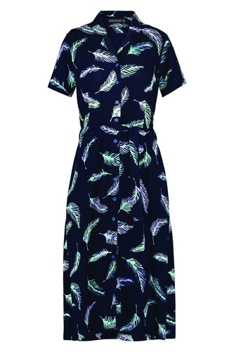 Kendra Feather Batik Shirt Dress