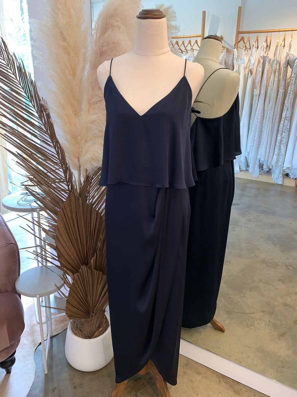 Luxe Cocktail Frill dress - navy