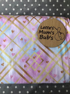 Hearts Gold/Pink/Blue Taggie Comforter Blanket 30x30cm